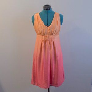Sunset Orange to Red Ombre Silk Dress V-Neck